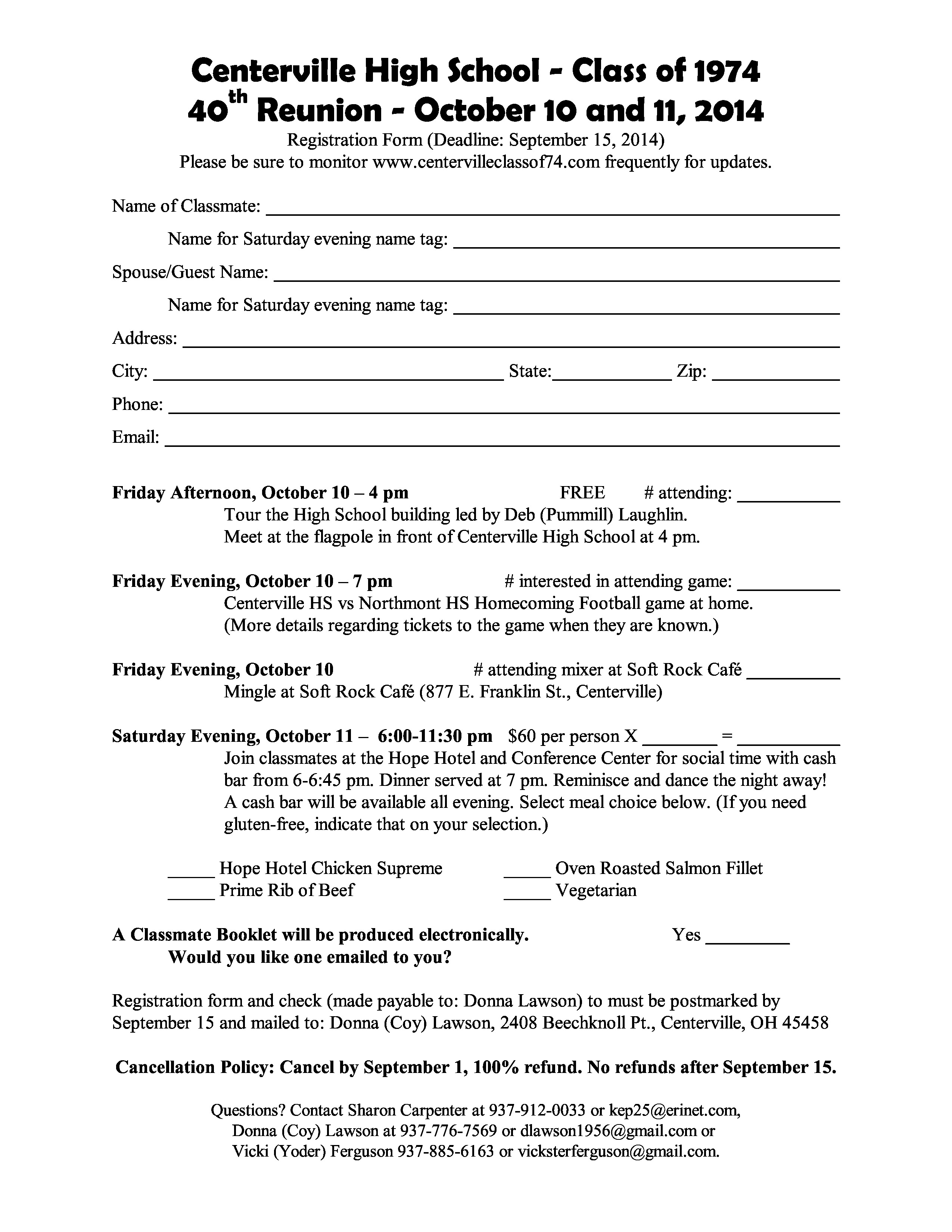 high school registration form template - registration form centerville high school class of 1974
